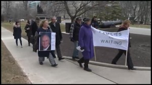 Peterborough GE retirees stage rally at Queen's Park
