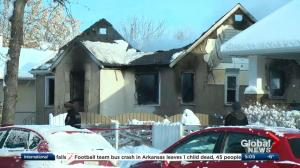 Doors blown out at north Edmonton house fire