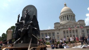 'Hail Satan': Satanic Temple unveils statue in protest of Ten Commandments monument in Arkansas
