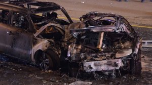 Raw video: aftermath of fiery 2-car collision in Brampton