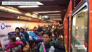Migrants flood Mexico City metro station as caravan continues journey to U.S. (00:30)