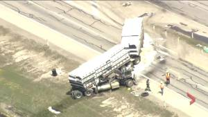 Semi truck collision creates traffic troubles on Calgary's Stoney Trail