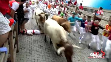la moitié 0519e cca47 5 injured, 3 impaled by bulls during Pamplona bull run in ...