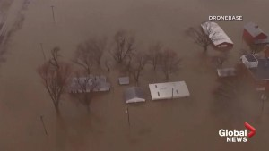 Drone footage shows extent of the flooding in Nebraska