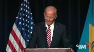 "Joe Biden misspeaks, touting ""most progressive record of anybody running"", then corrects himself"