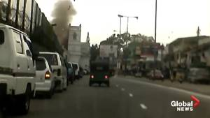 Dash cam footage captures moment of deadly Sri Lanka explosion (01:43)
