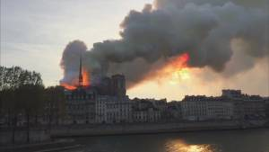 Paris sky filled with smoke as Notre Dame Cathedral burns