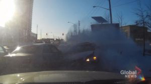 WATCH: Dashcam captures intense moment of car flying airborne into traffic