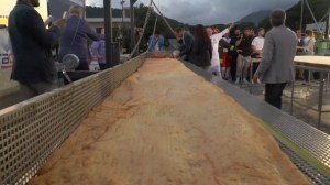 Pizza almost seven metres long sets Guinness World Record in Italy