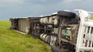 Semis flipped and barns levelled in Alberta after severe weather, fire chief says