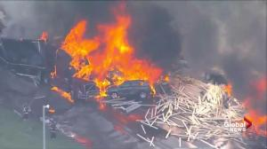 Massive fire ignites after multi-car, truck pile-up on Denver highway