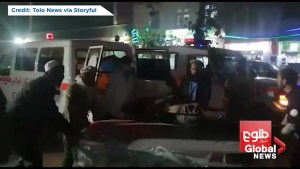 Ambulances respond to scene of deadly suicide bombing in Kabul, Afghanistan