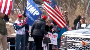 Supporters of Ilhan Omar protest Trump tweet with pro-Trump demonstrators nearby