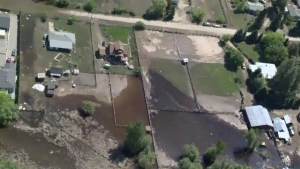 Aerial view of Grand Forks flooding on Monday
