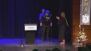 Paralyzed Calgary graduate walks across the stage to receive diploma (02:16)
