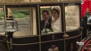 Princess Eugenie, Jack Brooksbank wave to crowds from carriage