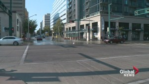 Water main break floods downtown Edmonton intersection
