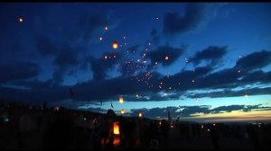 Lanterns drift through the sky to commemorate D-Day