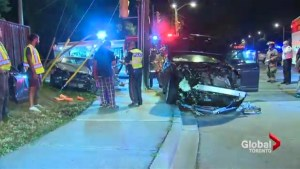 Two people in hospital after two-car collision in Etobicoke