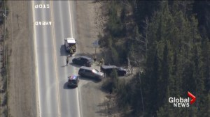 Crews search area near Bragg Creek as part of double-homicide investigation