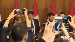 Justin Trudeau, other party leaders gather at Hanukkah menorah lighting