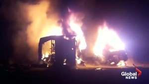 26 killed after bus collides with truck, catches fire in Pakistan