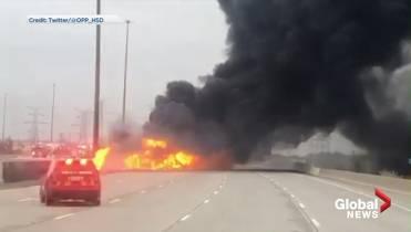 2 dead after crash, large tanker fire on Highway 407 in Vaughan