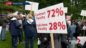 Hundreds of striking college workers from across the province rally at Queen's Park