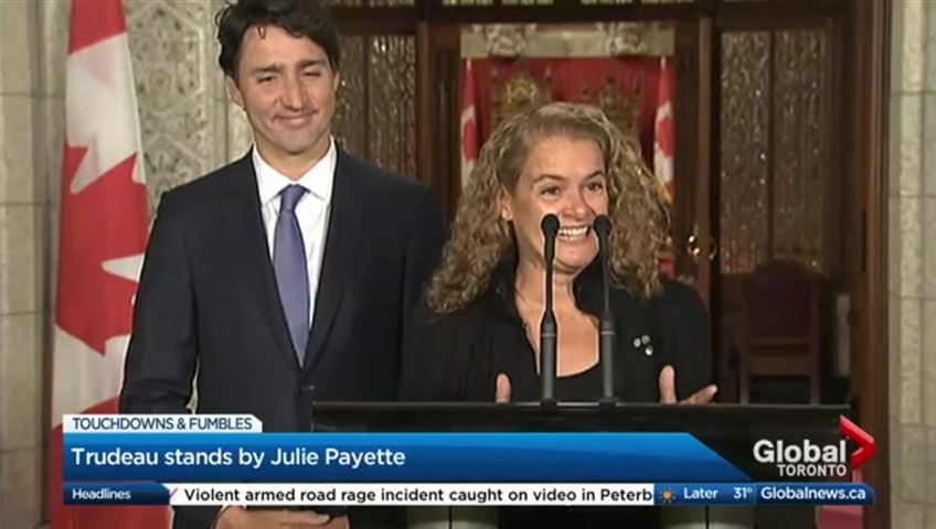 Click to play video 'Justin Trudeau is standing by his choice for Governor General'