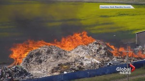 Drone footage captures recycling fire in Rocky View County