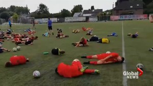 Belgium youth soccer camp practices their best Neymar dive