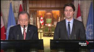Ban Ki-moon: The weather in Canada is cold, but their relationship with the UN is quite warm