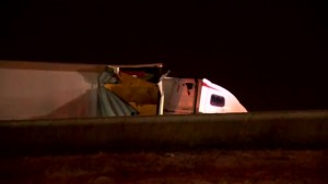 Jackknifed tractor-trailer closed southbound Hwy. 427 near Airport Rd.