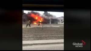 Goodwill store on Pembina catches fire after car crash