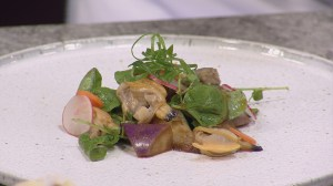 Chef Ken Nakano's smoked manila clams and eggplant