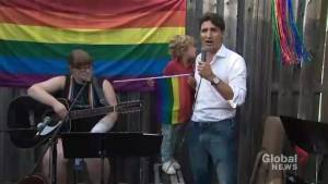 Prime Minister Justin Trudeau speaks at Pride event in Fredericton