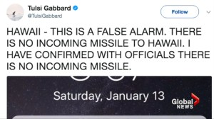 Ballistic missile alert warning in Hawaii sent by accident