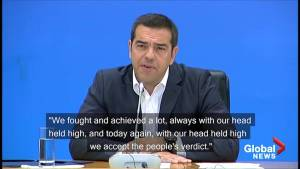 Greek prime minister concedes defeat in emotional statement