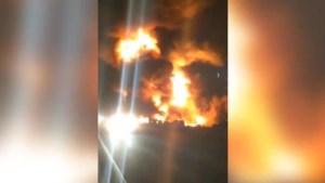 Bystander helplessly looks on as massive blaze torches Hwy. 400 crash scene