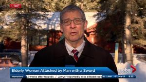 Elderly woman attacked by man with a sword in Bragg Creek