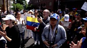 People protest outside Venezuelan consulate in Washington amid demonstrations in Caracas