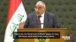 Iraqi PM rejects Trump's claims on U.S. forces monitoring Iran