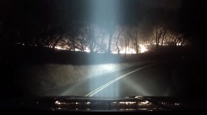 Photographer films drive through Camp Fire in California