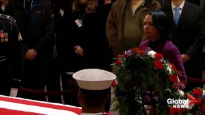 Condoleezza Rice visits Capitol Rotunda to pay respect to President George H.W. Bush