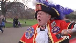 Town Crier among Kensington Palace crowd celebrating Royal engagement