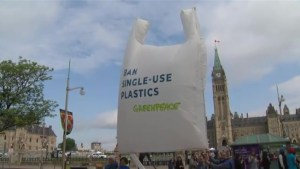Greenpeace unfurls giant plastic bag on Parliament Hill