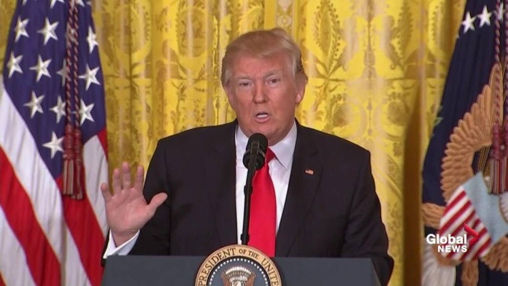 Click to play video: 'Trump calls reports on administration's ties to Russia 'fake news''