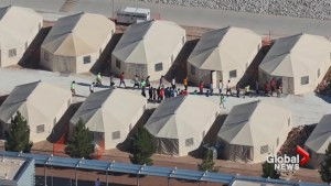 Aerial views of an immigrant children camp in Texas