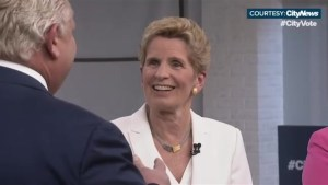 'You've got a nice smile on your face': Doug Ford compliments Kathleen Wynne, awkwardness ensues