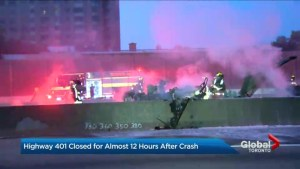 1 dead in fiery crash on eastbound Highway 401 in Toronto